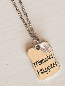 """http://www.myjbloom.com/SHANNONMILLER Item 36B Adjustable 16-18"""" Miracles Happen Necklace  Price: $30.00"""