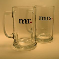 Wedding Beer Mugs / mr and mrs by svcalligraphy on Etsy
