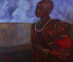 Masajka Macierzynstwo 'Massai  Motherhood' by PaintingThomasMrozow