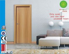 natural wood solid bed room interior wood HDF/WPC door