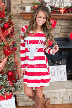 Where's Rudolph Striped Tunic - The Pink Lily Boutique