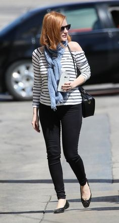 Casual spring outfit ideas from your favorite stars (how French-girl-cool is this striped top worn with black skinnies and ballet flats?). Click for more pictures!