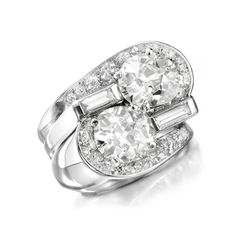 A Twin-stone Diamond Ring, by Suzanne Belperron, circa 1940 - FD Gallery (=)
