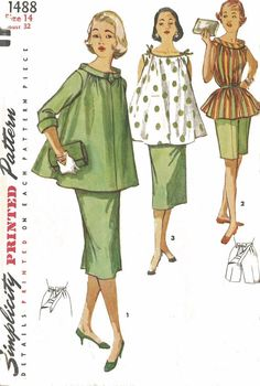 Vintage Sewing Pattern Maternity Outfit, Bows on Shoulder Bust 1960s Fashion, Vintage Fashion, Classy Fashion, School Fashion, French Fashion, Work Fashion, Fall Fashion, Korean Fashion, Style Fashion