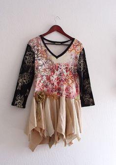 Eco Friendly Funky Shirt Dress/ Tattered Fairy Mori by KheGreen, $45.00
