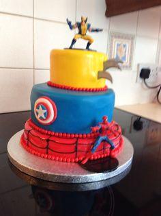 Triple super hero cake