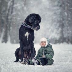 Du wirst niemals etwas so Drolliges sehen wie diese Kids mit großen Hunden