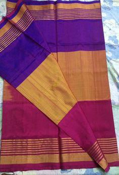Tricolour Uppada silk saree with zari