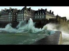 ▶ Grande marée Saint-Malo mars 2014 Môle des Noires Tempête Bretagne Storm Tide Sturmflut marea - YouTube