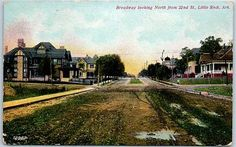 Little-Rock-Arkansas-Postcard-034-BROADWAY-North-from-22nd-Street-034-Houses-c1910