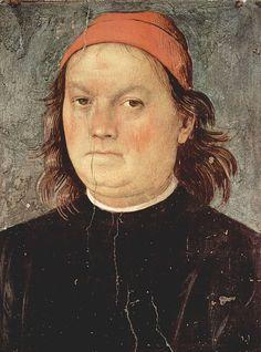 """""""Retrato de Pietro Perugino.  Auto-Retrato"""". (Pietro di Cristoforo Vanucci) (* Città dela Pieve, 1450 - 1524)."""