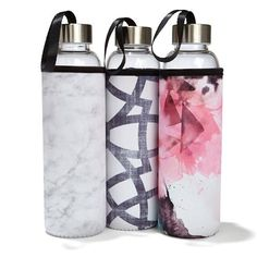 Glass Bottle with Printed Cover - Assorted Shops, Homemaking, Glass Bottles, Gifts For Women, Water Bottle, Mugs, Tableware, Cover, Prints