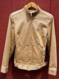 Worth Tan Beige Belted Zip Jacket Blazer Cotton Spandex Gold Hardware Size 10 #Worth #Blazer
