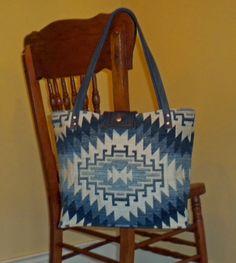 Tribal Geometric Tote Bag   Leather straps  Navy by WhatsNextYaya