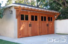 Real Wood Carriage Garage Door Ideas With Matching Overhead Pergola! | Dynamic Garage Door Projects