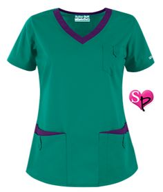 Butter-Soft Scrubs by UA™ Women's Rounded V-Neck 5-Pocket Top Our flattering, rounded v-neck scrub top is the perfect combination of function and fashion!Now available in solid or solid with contrast trim!  Style # UA638C #uniformadvantage #uascrubs #adayinscrubs #green #scrubs #nurse