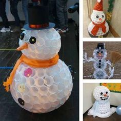 Yes, you can make a snowman with soft stuff like cotton or even white plastic cups! Unlike an actual snowman, a plastic cup snowman will never melt, K Cup Crafts, Christmas Projects, Holiday Crafts, Holiday Fun, Crafts For Kids, Diy Crafts, Christmas Ideas, Holiday Parties, Upcycled Crafts