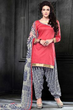 Dark peach, cotton, printed print, semi stictch patiala suit.   V neck, Above knee length, full sleeves kameez.   White cotton patiala salwar.   White chiffon dupatta with lace border with work.  It is perfect for casual wear and festival wear wear.  Andaaz Fashion is the most popular designer wear online ethnic shop brands.  http://www.andaazfashion.us/salwar-kameez/patiala-suits/occasion/casual-wear-patiala-suits