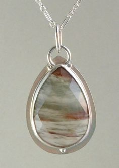 teardrop brazilian agate sterling silver pendant by Lauren Meredith
