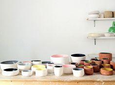 Extrusion Bowls by Apparatu #ceramics #color #craft