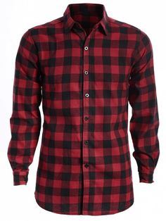 Mens Casual Checked Shirt - RED AND BLACK L