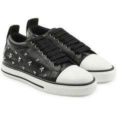 R.E.D. Valentino Leather Studded Sneakers (2078805 PYG) ❤ liked on Polyvore featuring shoes, sneakers, black, leather upper shoes, black shoes, punk rock shoes, black trainers and black studded shoes