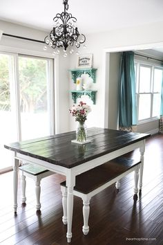 DIY farmhouse kitchen table -love!