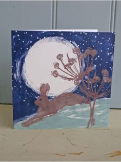 Hare in Moonlight Handprinted Card