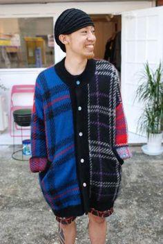 #streetstyle #tartan #cardigan #menswear #blue #black #red #print #pattern #knitwear