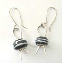 Sterling Silver Black and White Glass Bead by fitzidesigns on Etsy, $18.00