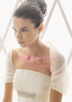 Short Sleeve Organza Shrug Jacket Bolero Wedding Wrap