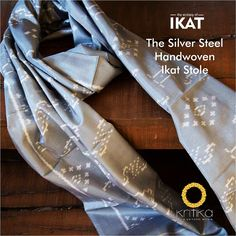 Silk strands handwoven in Ikat to form mystic motifs yet undertoned to your style. Colored in silver and soft white, this stole is a Kritika selection for the men of steel.