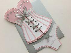 Lingerie Shower / Bridal shower - Corset invitation with panties, custom colors, set of 12