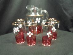 Vtg 7 Pc Clear Pitcher & Glasses w/ Hand Painted Floral & Cranberry Red Band