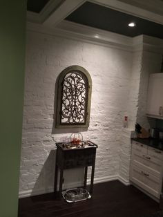 Exposed brick painted white. Brick Painted White, Country Chic Kitchen, Coffer, Reclaimed Barn Wood, Wood Accents, Exposed Brick, Backsplash, Kitchen Dining, Tiles