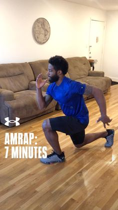 Give it your all during this 7 minute AMRAP home-workout. Fitness Goals, Fitness Tips, Health Fitness, Amrap Workout, 7 Minutes, Health Exercise, Get Moving, No Equipment Workout, Workout Videos