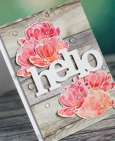 Houses Built of Cards: Winnie and Walter In Bloom: Addie's Garden watercolored Hello card