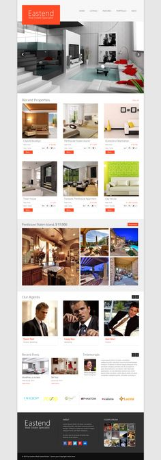 Eastend - Real Estate WordPress Themes Eastend - an extensive WordPress Real Estate ThemeEastend is an fully responsive WordPress Real Est by Business Brochure, Business Card Logo, Web Design, Design Ideas, Page Template, Templates, Grid Layouts, Social Icons, Real Estate Search