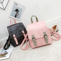 Women Backpack Small Black Leather Shoulder Bag For Teenage Girls Simple Pink Backpacks Fashion Mini School Bags bacisco Outfit Accessories From Touchy Style. Backpack For Teens, Backpack Bags, Fashion Backpack, Pink Backpacks, Cool Backpacks, Cool School Bags, Galaxy Backpack, Bags For Teens, Casual Bags