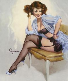 ELVGREN - WELL SEATED Pin-Up negligee lingerie, stockings nylons Calendar Girl pinup apx 12x18. $49.95, via Etsy.