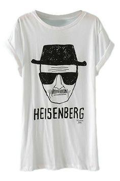 ROMWE   ROMWE Cool Man Heisenberg Print White T-shirt, The Latest Street Fashion