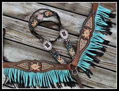 Tack set, metallic copper inlay, golden shadow and turquoise rimsets, turquoise buckstitch and double fringe