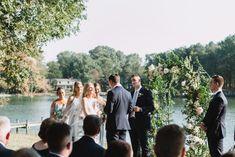 Waterfront wedding, floral arbor, floral arch, simple wedding, september wedding, greenery, outdoor wedding, maryland wedding, anne barge bride, navy suit