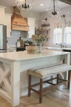 Best Rustic Farmhouse Living Room Design Ideas - An open household room and kitchen the place the household eats is designed in charming farmhouse model which makes it a heat and welcoming coronary heart for the house. Small Farmhouse Kitchen, Long Kitchen, Farmhouse Interior, Modern Farmhouse Kitchens, New Kitchen, Home Kitchens, Farmhouse Decor, Stylish Kitchen, Kitchen Rug