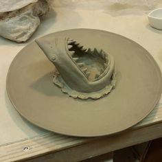 Working on shark sushi plates again  #sharkplate #sushi #jaws #sharkweek…