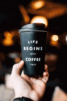 LIFE BEGINS AFTER COFFEE. Get your winter coffee travel mug from www.pand.co