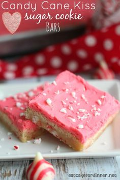 Candy Cane Kiss Sugar Cookie Bars with Buttercream Frosting