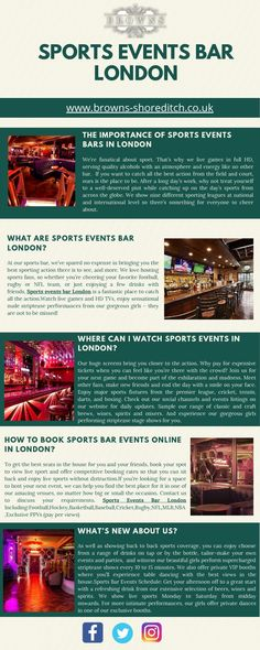Do you want watch sports events bar in London? You can online book sports events bar-related information at browns shoreditch. Stage Show, Pole Dancing, Sport Watches, Books Online, Events, London, Bar, Sports, Hs Sports