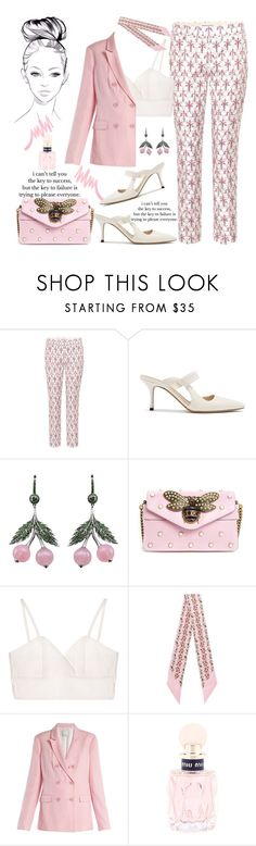 """Lady in pink"" by giotibi ❤ liked on Polyvore featuring Prada, The Row, Axenoff Jewellery, Gucci, TIBI, Miu Miu, Victoria's Secret and polyvoreeditorial"