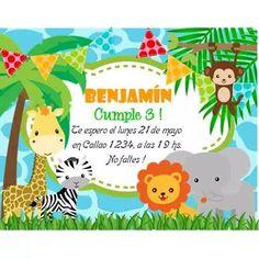 Kit Imprimible Animalitos De La Selva Invitaciones Candy Bar - $ 49,99 Jungle Theme Parties, Safari Theme Party, Safari Birthday Party, Jungle Party, Baby Birthday, Baby Banners, A4 Poster, Party Items, Animal Party
